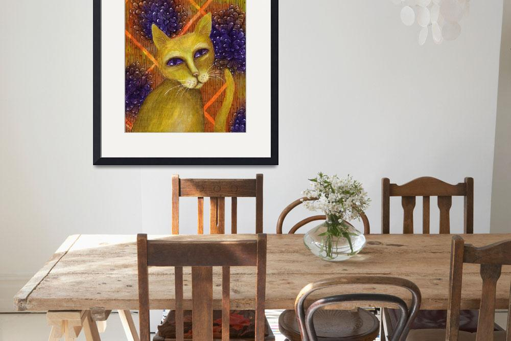 """""""Yellow Cat Portrait with Flower Background&quot  (2016) by ElfRenee"""