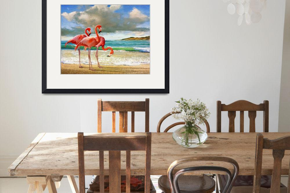"""""""flamingos on the beach&quot  (2015) by rchristophervest"""