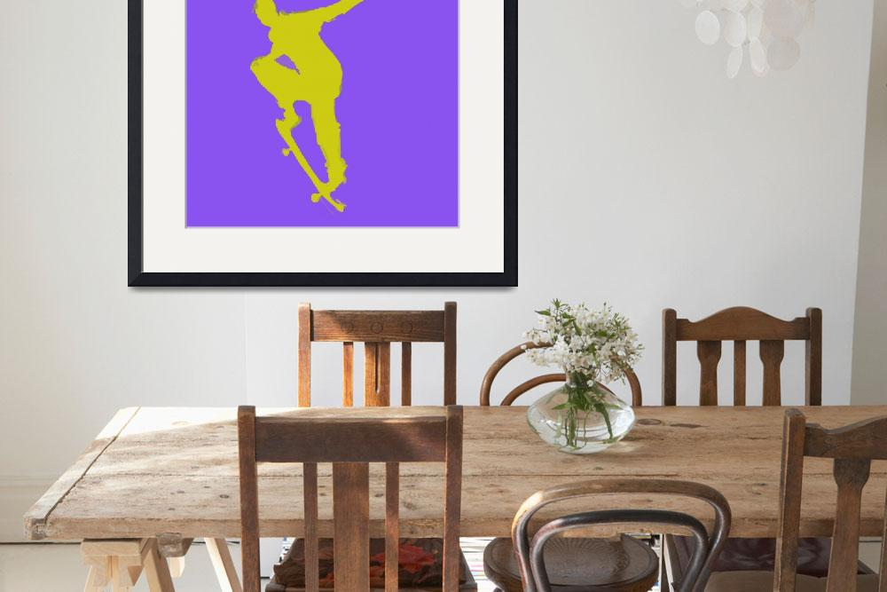 """""""Skateboarder 1 . blue gold yellow (c)""""  (2014) by edmarion"""