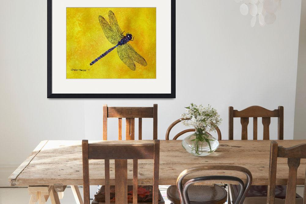 """""""Dragonfly on Yellow""""  (2010) by PaintedPathWatercolors"""
