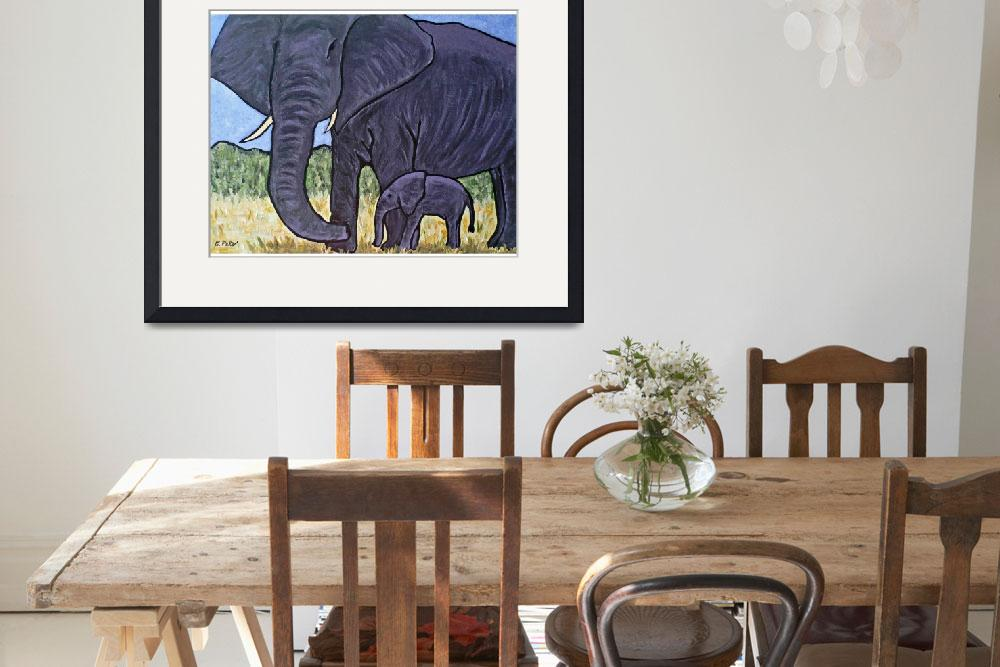 """""""Mother and Baby Elephant&quot  by EricaPeto"""