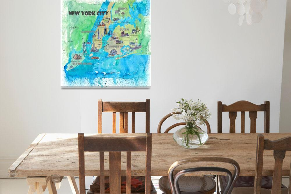 """New York CIty Fine Art Print Retro Vintage Map&quot  by arthop77"