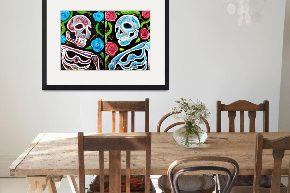 """Red and Blue Skulls and Roses""  (2012) by ArtPrints"