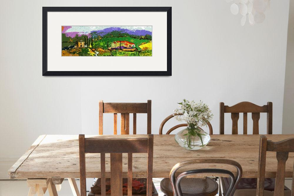 """""""Tuscan Farm Panoramic Landscape&quot  (2013) by GinetteCallaway"""
