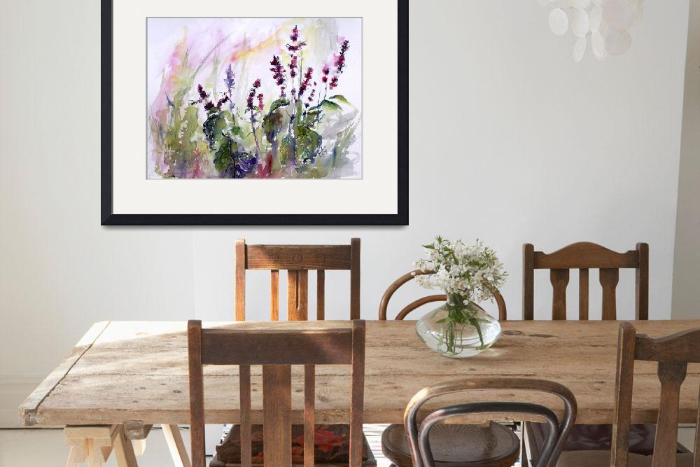"""""""Basil Flowers Culinary Herbs Watercolor&quot  (2015) by GinetteCallaway"""