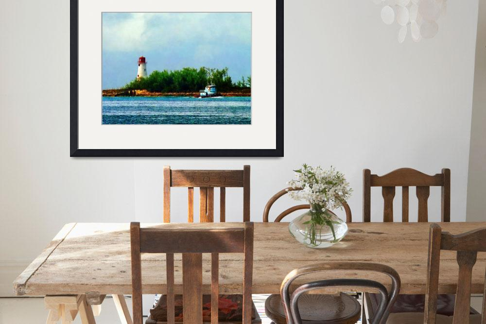"""""""Lighthouse with Boat Nassau Bahamas&quot  (2011) by susansartgallery"""