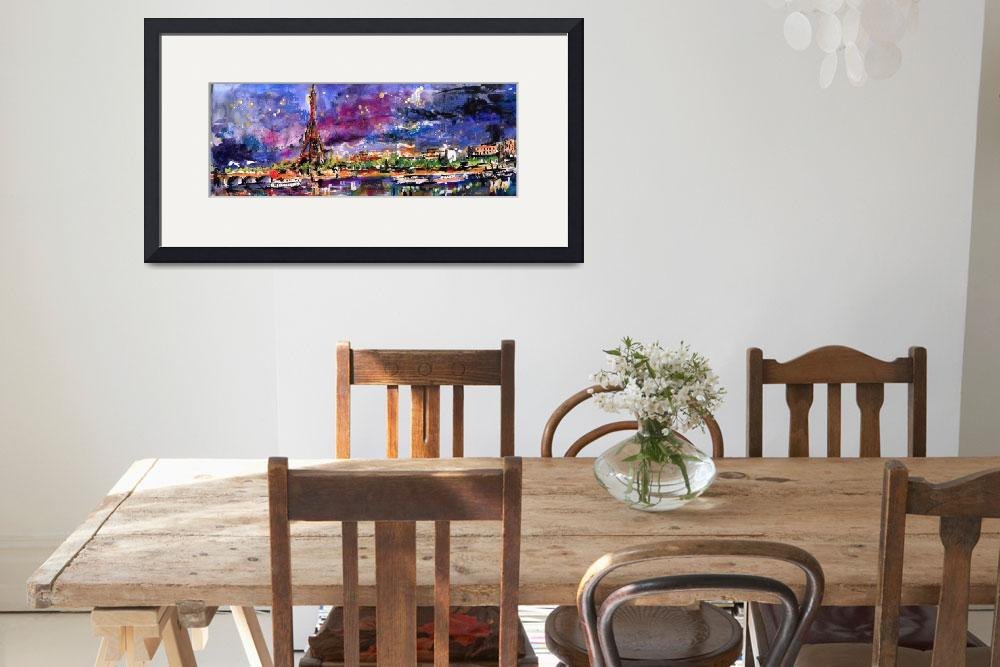 """A Night In Paris Panoramic View of Eiffel Tower&quot  (2015) by GinetteCallaway"