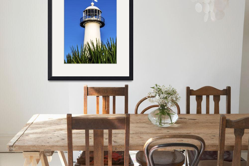 """Gulf Coast Lighthouse Seascape Biloxi MS 3819A""  by Ricardos"