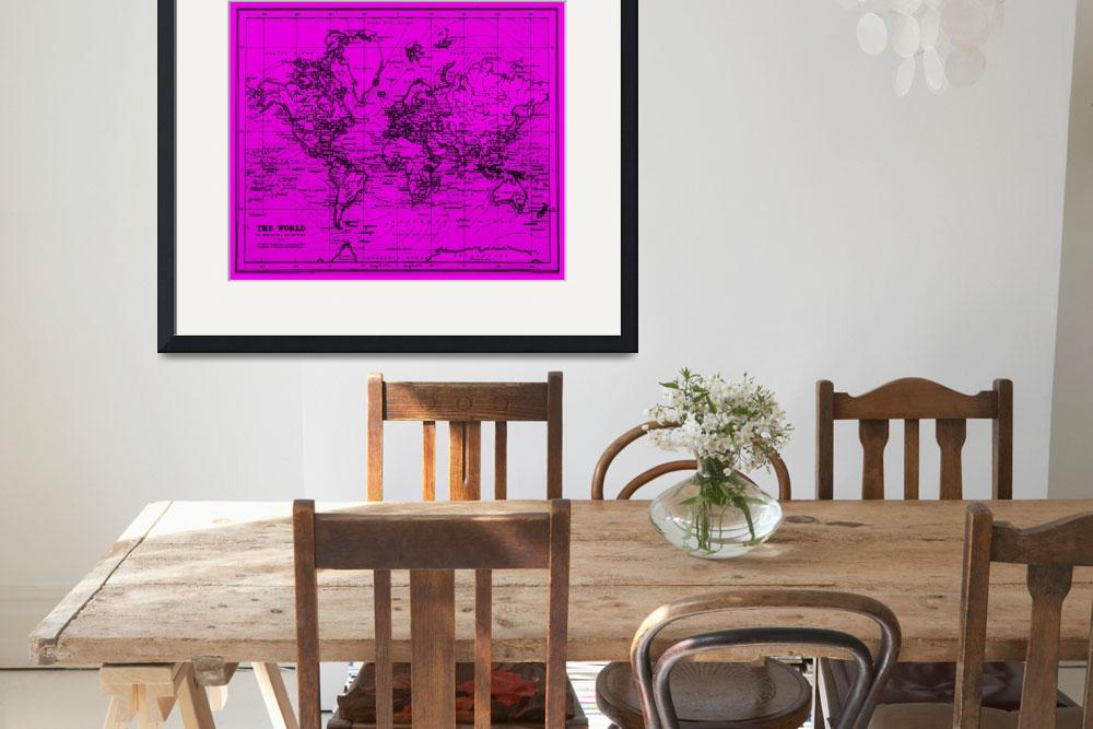 """""""World Map (1899) Purple & Black&quot  by Alleycatshirts"""