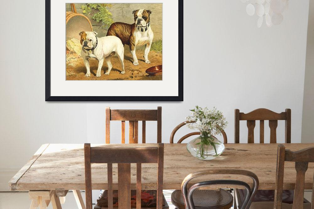 """""""Vintage Painting of English Bulldogs""""  by Alleycatshirts"""