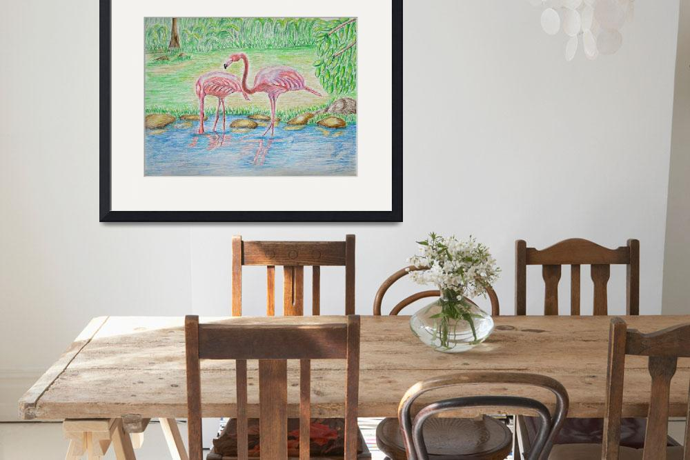 """""""Two Flamingos&quot  (2012) by thuraya"""