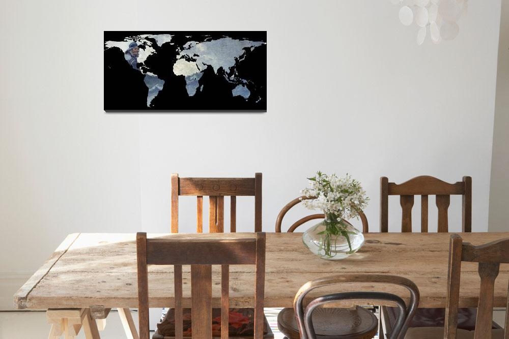 """""""World Map Silhouette - Fisherman on The Ocean&quot  by Alleycatshirts"""