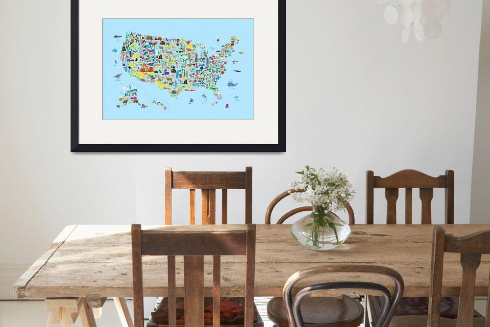 """Animal Map of United States for children and kids&quot  (2018) by ModernArtPrints"