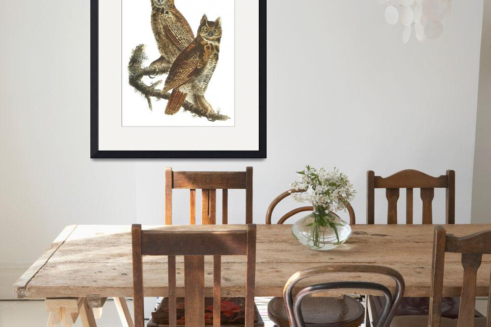"""Great Horned Owl Bird Audubon Print&quot  by ArtLoversOnline"
