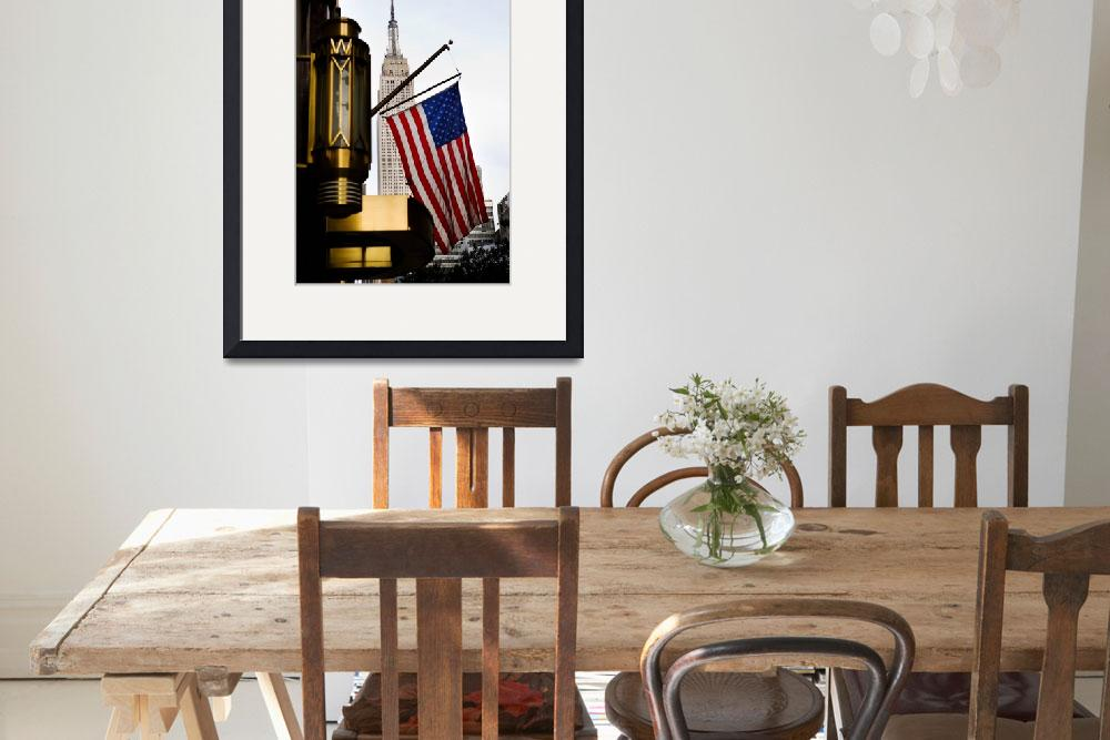 """""""Empire State and the US Flag, New York&quot  (2007) by SanjayNayar"""