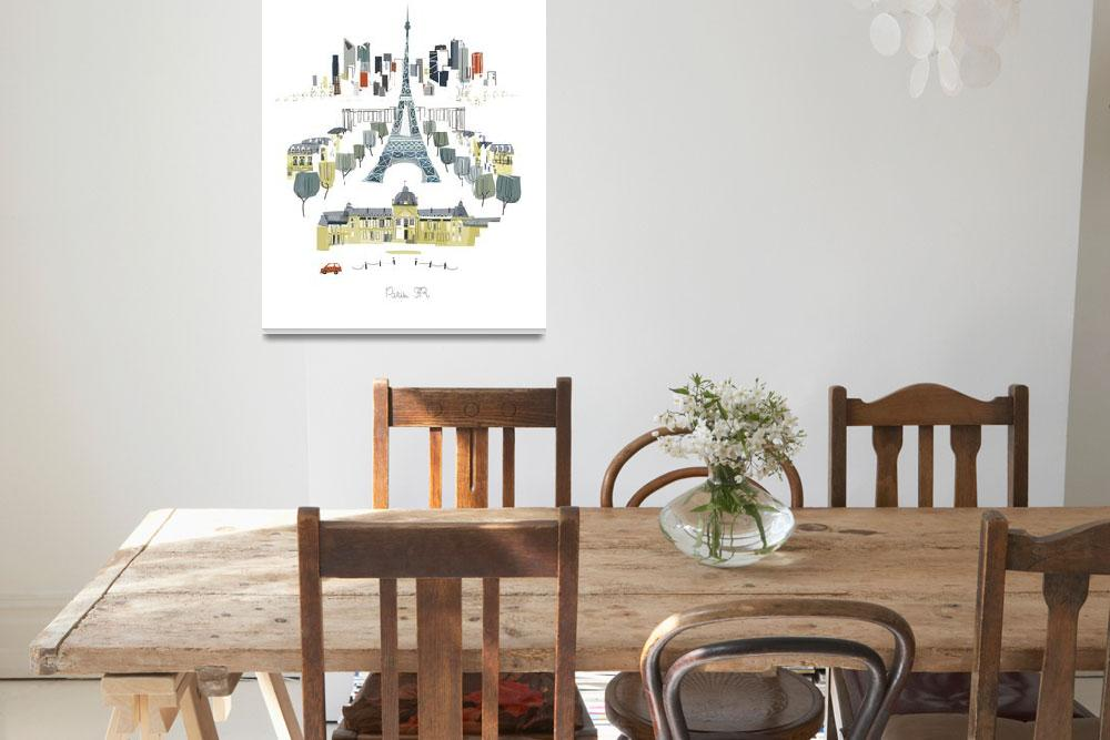 """""""Paris Modern Cityscape Illustration""""  by AlbieDesigns"""