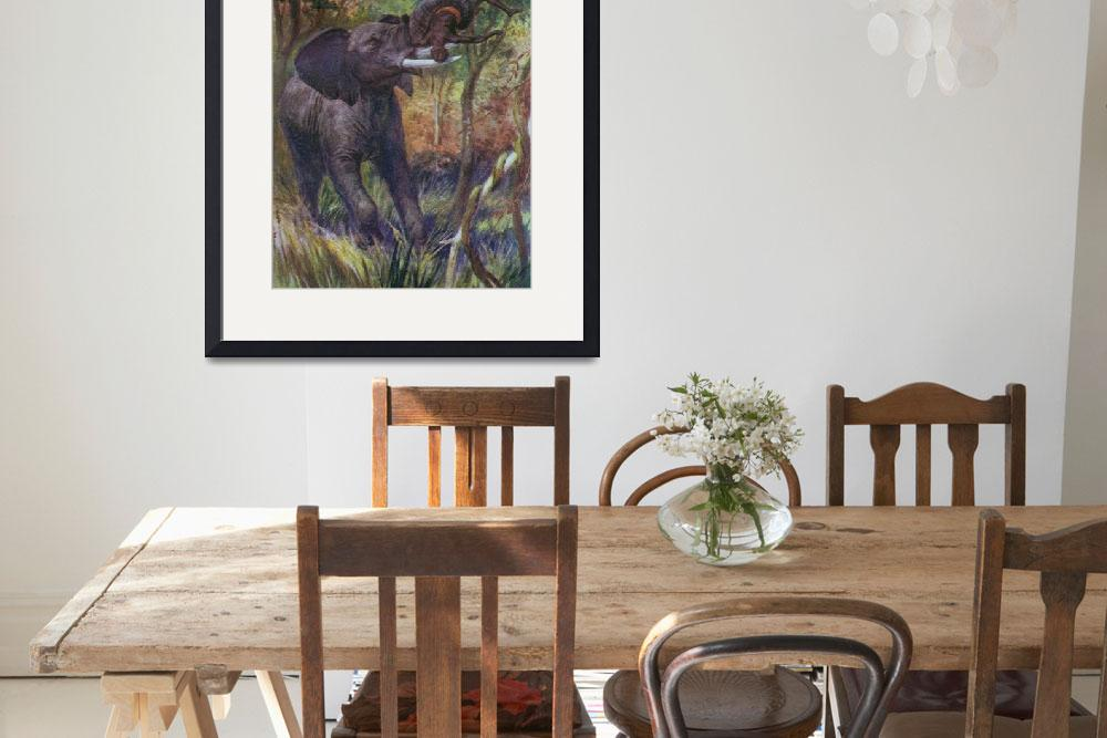 """""""African Elephant Attacking a Native""""  (2009) by birthdaygifts"""