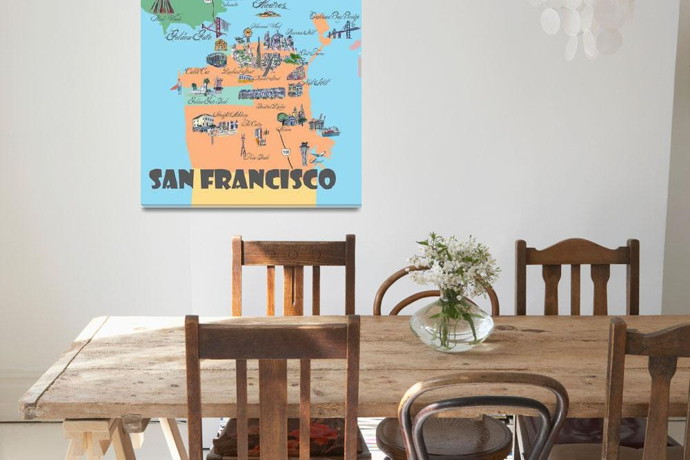 """San Francisco Fine Art Print Retro Vintage Map""  (2018) by arthop77"