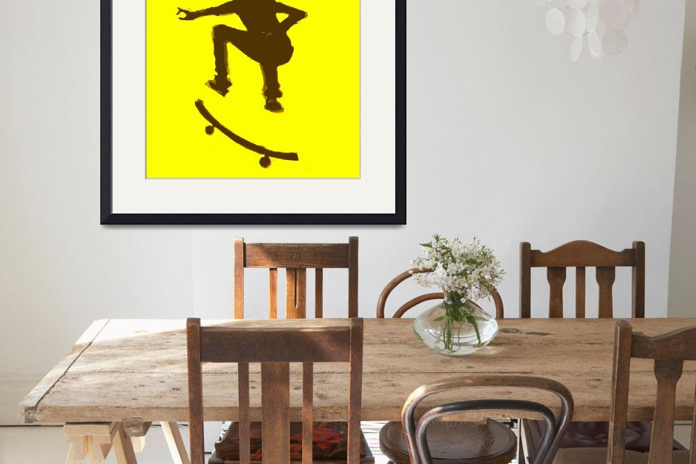 """""""Skateboarder 2 . yellow brown (c)""""  (2014) by edmarion"""
