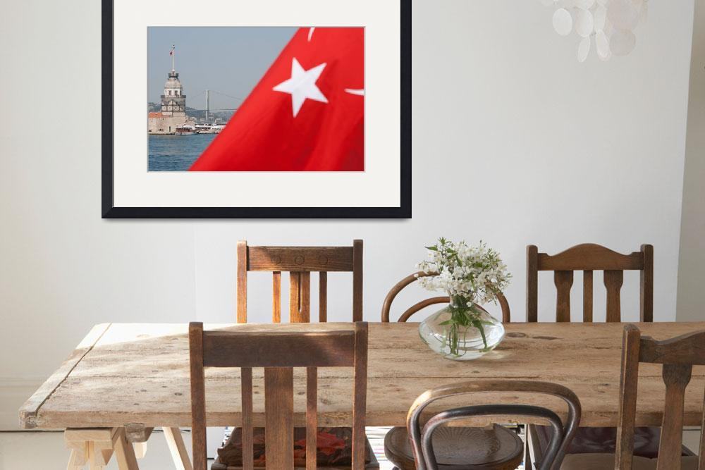 """""""Turkish flag and Maiden tower in Istanbul&quot  (2010) by sebnemkoken"""