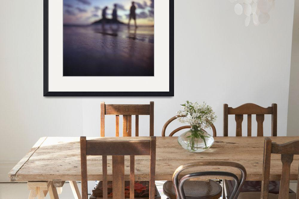"""""""Chillout silhouette of people on beach&quot  (2010) by edwardolive"""