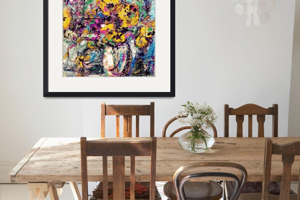 """""""Abstract Yellow Flowers Modern Still Life""""  (2012) by GinetteCallaway"""