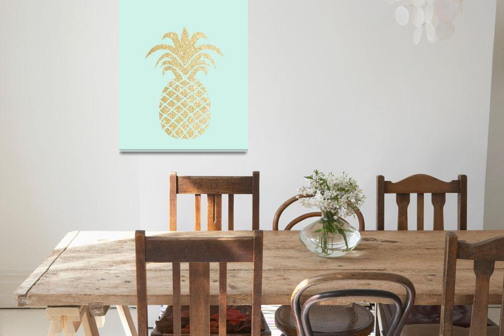 """""""Gold Pineapple Mint Background""""  by miscellaneastudios"""