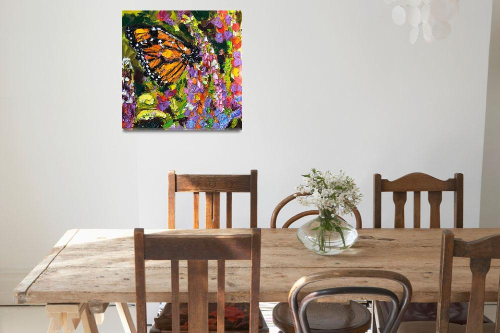 """""""Monarch Butterfly On Lupines Original Oil Painting&quot  (2005) by GinetteCallaway"""
