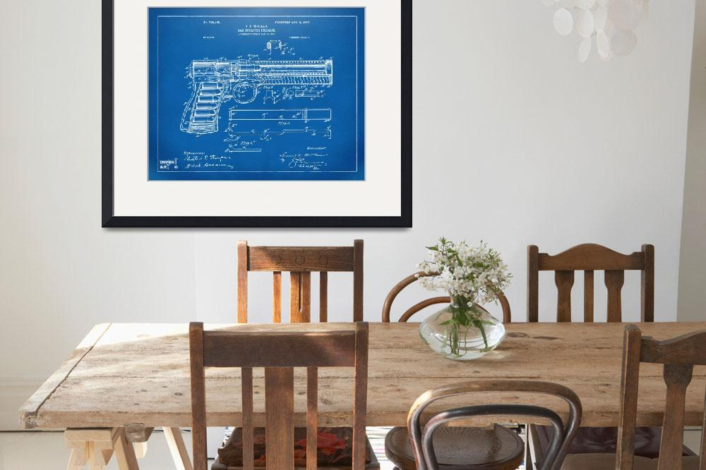 """1903 Mcclean Pistol Patent Blueprint&quot  by nikkismith"