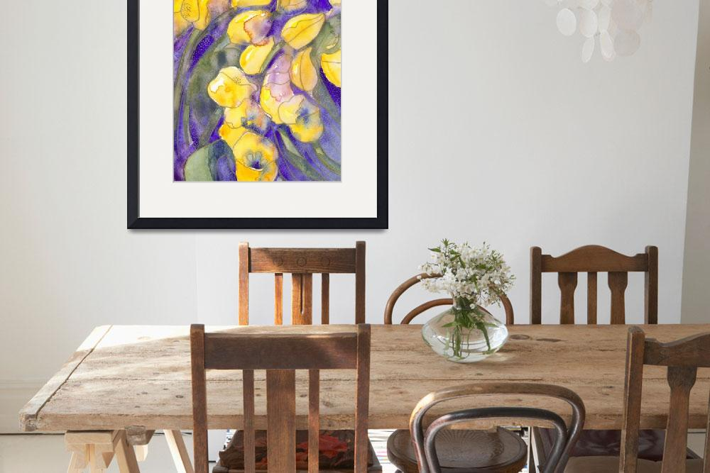 """""""Yellow tulips on purple watercolor abstract&quot  (1997) by withflyingcolors"""