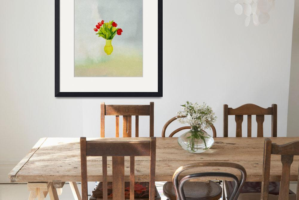 """""""spring flowers with yellow vase&quot  (2012) by eydiHB"""