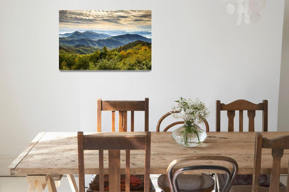 """""""Blue Ridge Parkway Sunrise - Light Lines and Leave""""  (2012) by DAPhoto"""