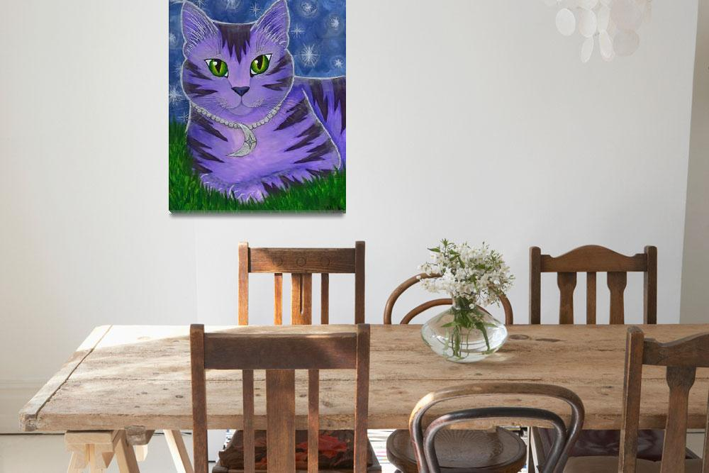 """Astra Celestial Moon Cat - Purple Cat Art&quot  (2003) by tigerpixie"