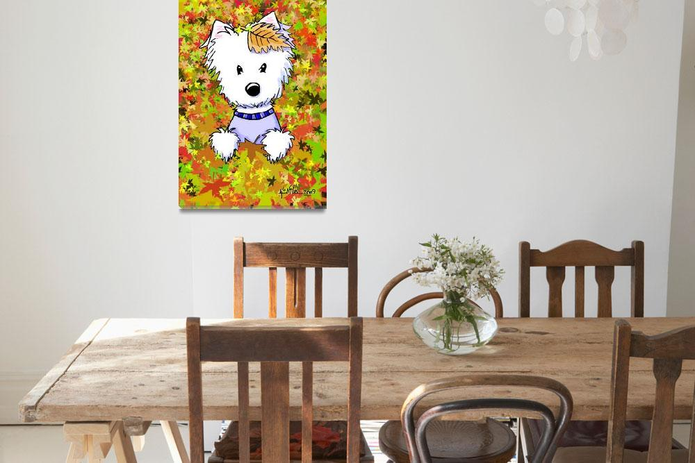 """""""Autumn Leaves Diver Westie&quot  (2009) by KiniArt"""
