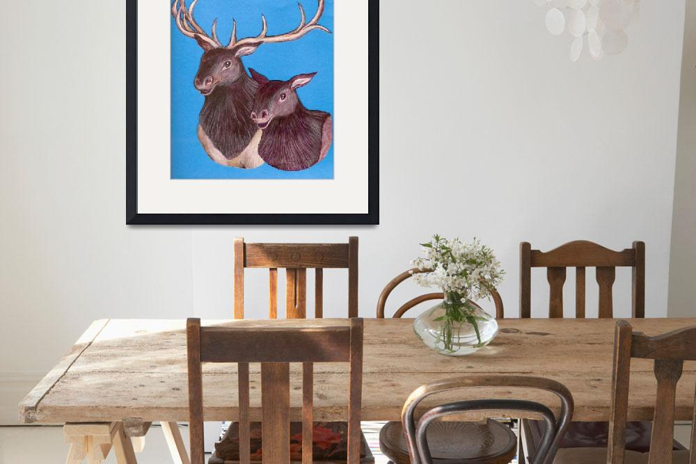 """""""Bull and cow elk""""  (2008) by woodmaster"""
