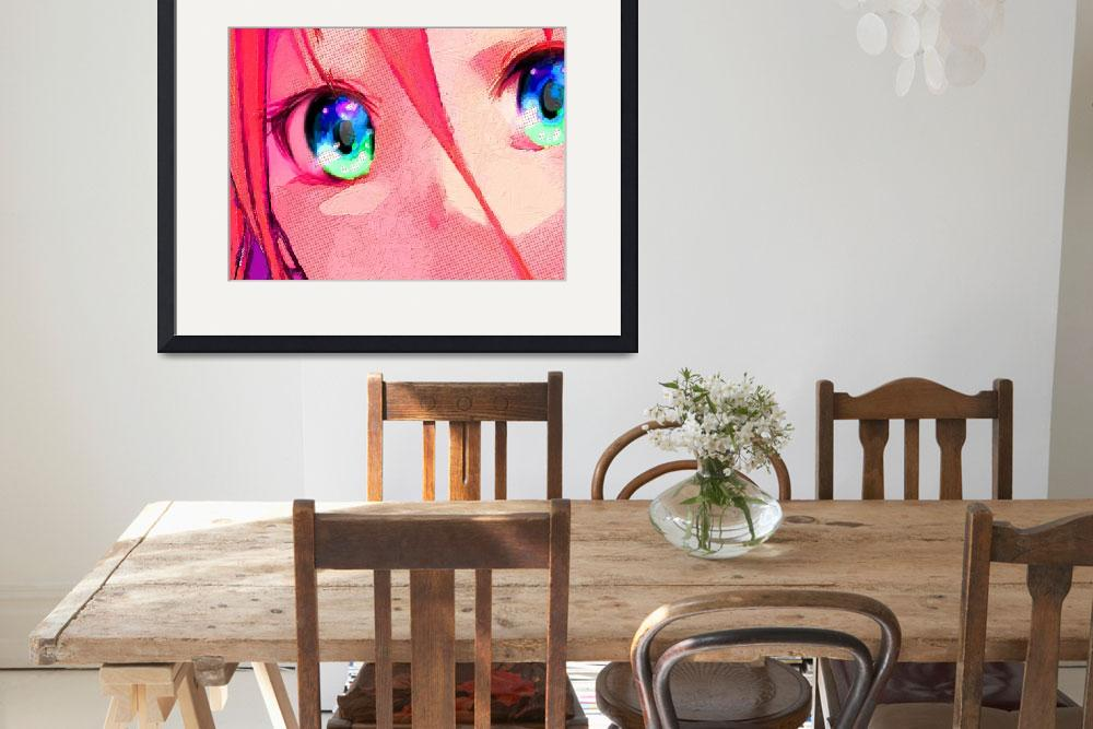 """""""Anime Girl Eyes Red&quot  (2018) by RubinoFineArt"""