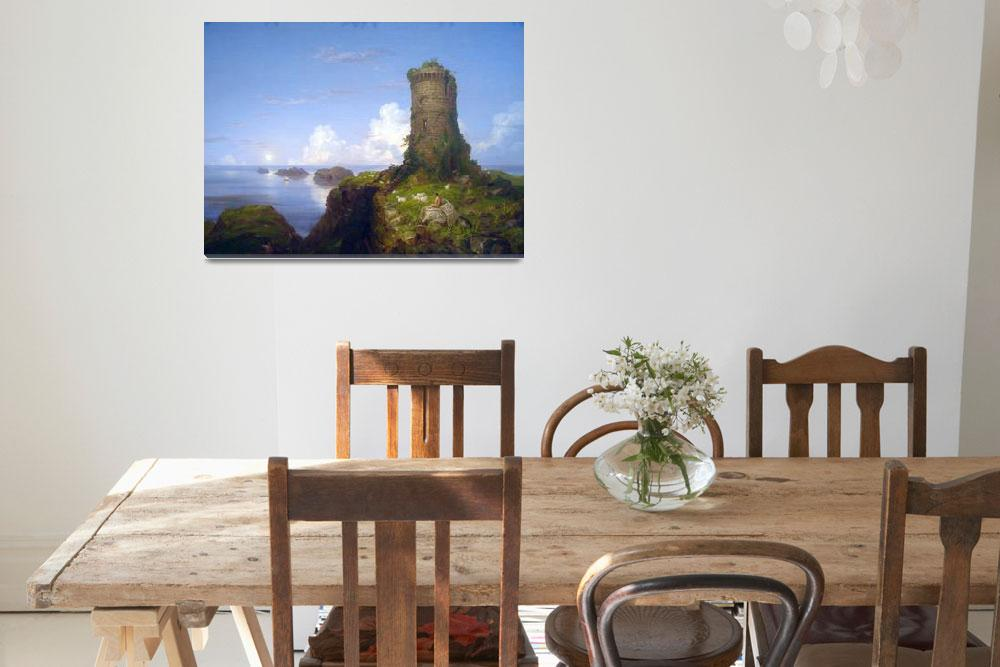 """""""Italian Coast Scene with Ruined Tower -Thomas Cole&quot  by ArtLoversOnline"""