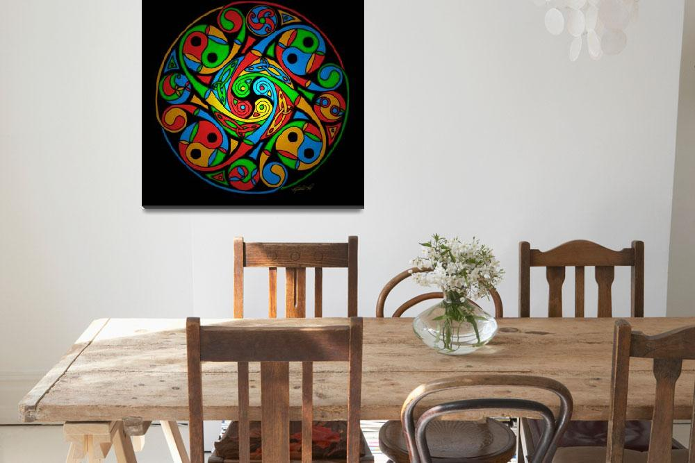 """""""Celtic Stained Glass Spiral""""  by foxvox"""