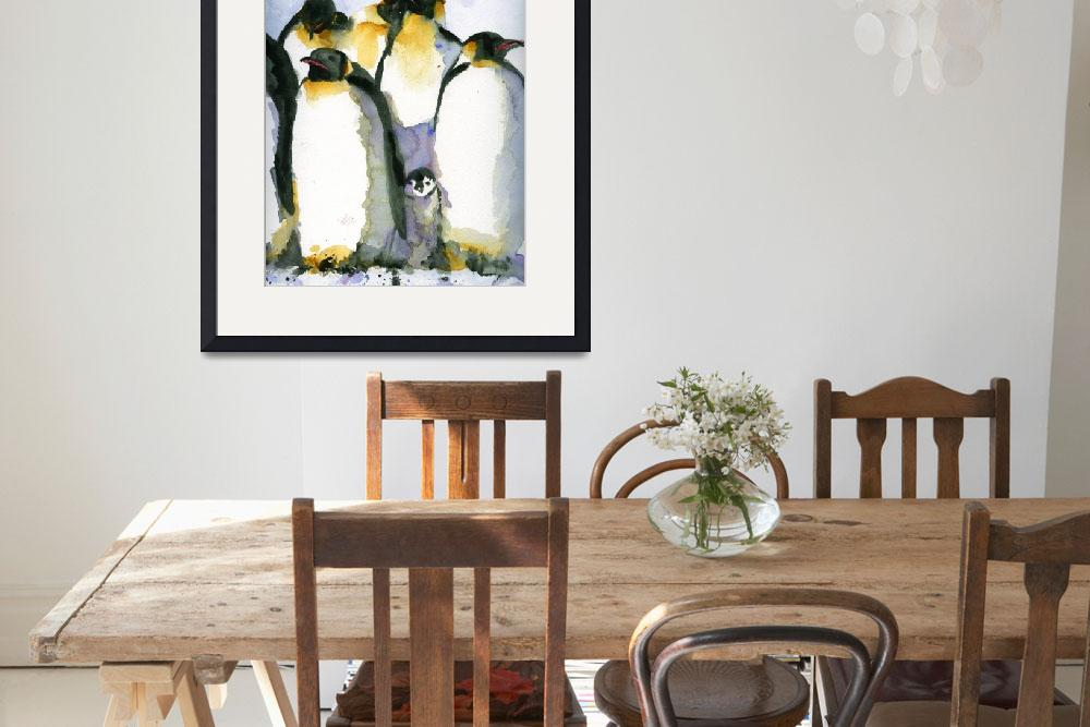 """Just Chillin, Watercolor Painting of Penguins art""  by schulmanart"