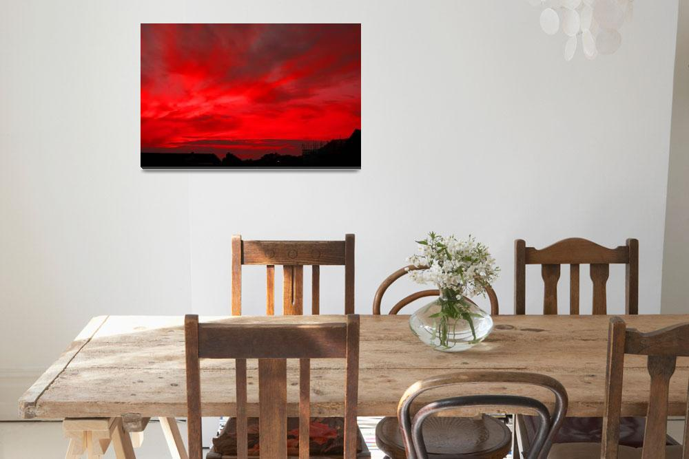 """RED FIRE SUNSET, ISLE OF MAN&quot  (2008) by babooshka"