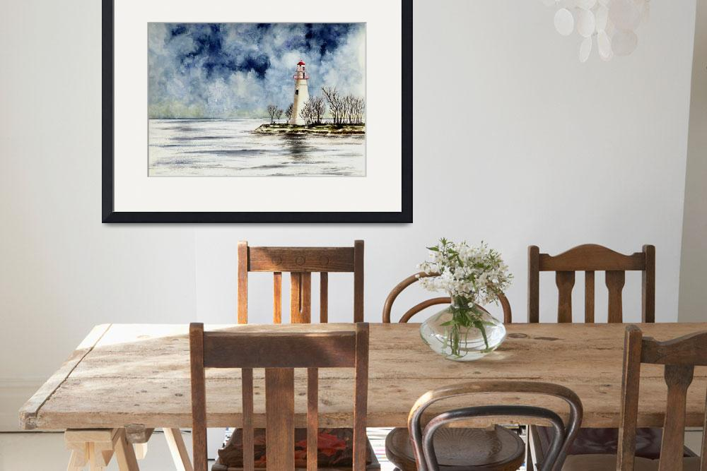 """""""Marblehead Lighthouse (Winter Scene)&quot  (2004) by vigliotti"""