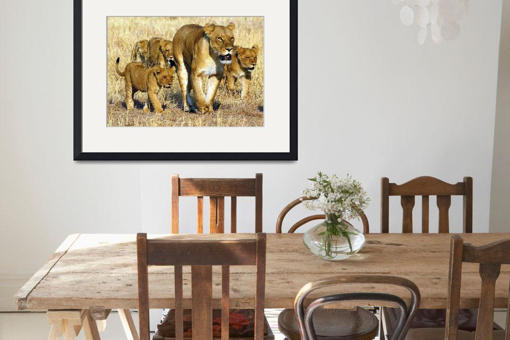 """""""Female Lion with Cubs""""  (2002) by MichaelPoliza"""