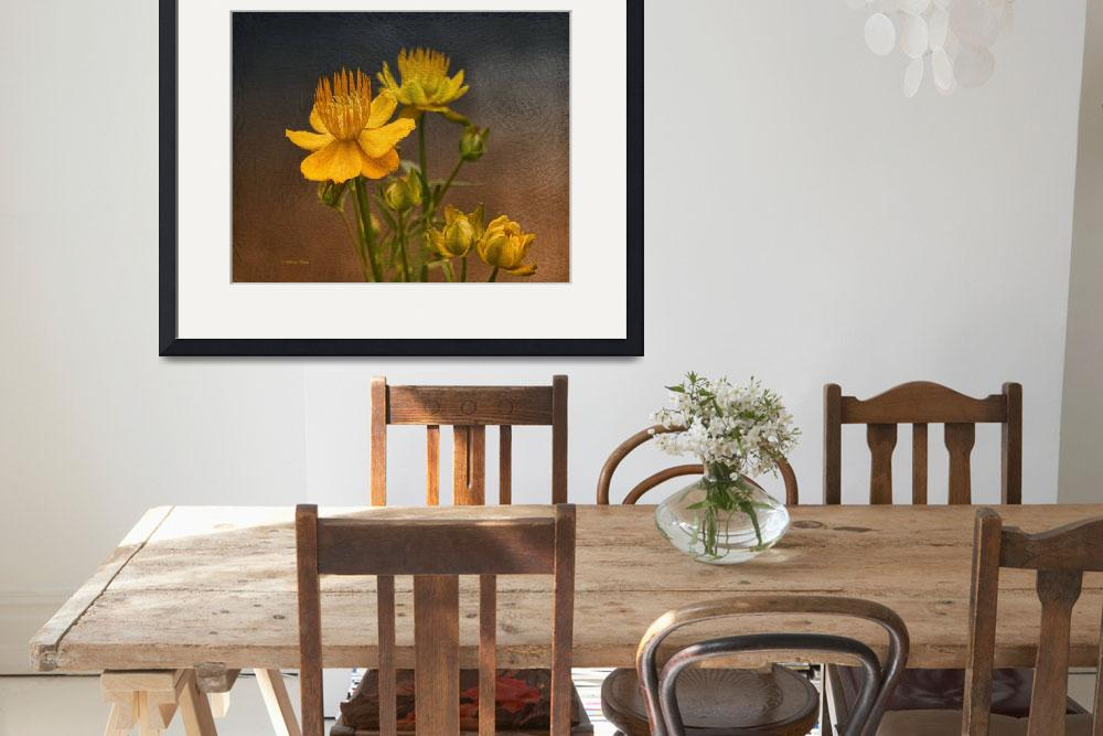 """""""Yellow Aged Floral&quot  (2014) by DBenoit"""