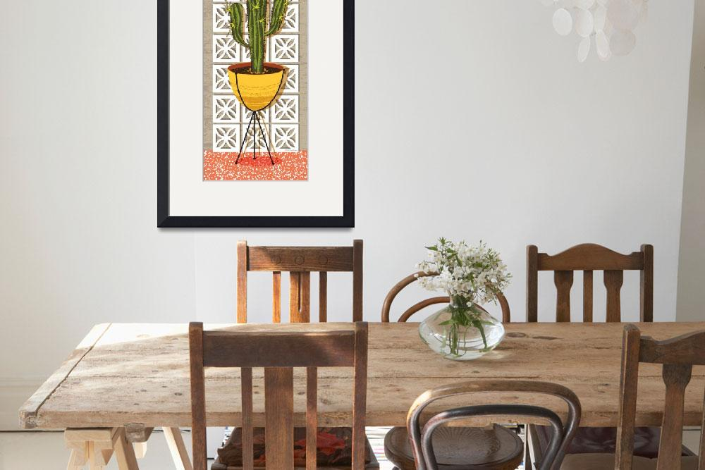 """Mid Century Modern Breeze Block Cactus Poster&quot  (2018) by DianeDempseyDesign"