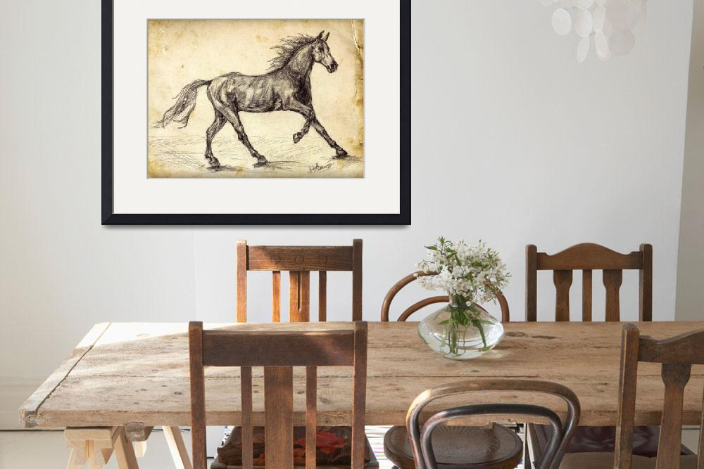 """""""Horse Freehand Graphite Study&quot  (2015) by GinetteCallaway"""