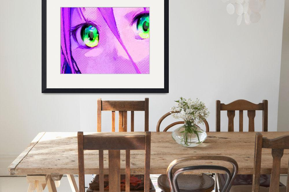 """""""Anime Girl Eyes Pink&quot  (2015) by RubinoFineArt"""