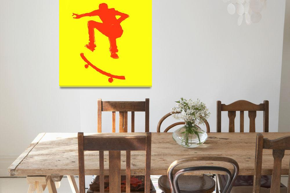 """Skateboarder 2 . yellow red (c)""  (2014) by edmarion"