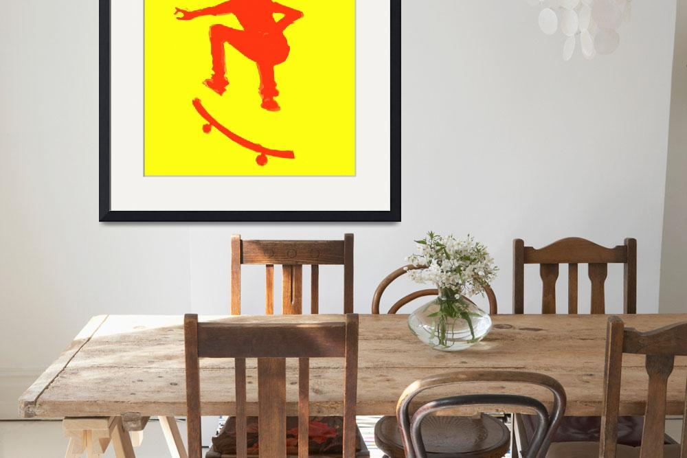 """Skateboarder 2 . yellow red (c)&quot  (2014) by edmarion"