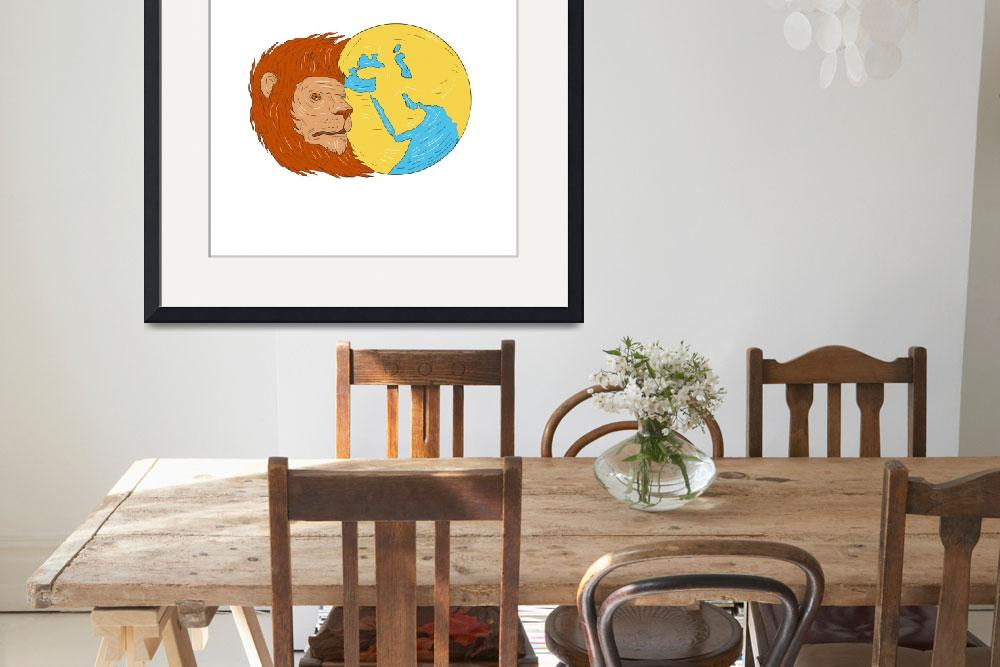 """""""Lion Head Middle East Asia Map Globe Drawing""""  (2017) by patrimonio"""