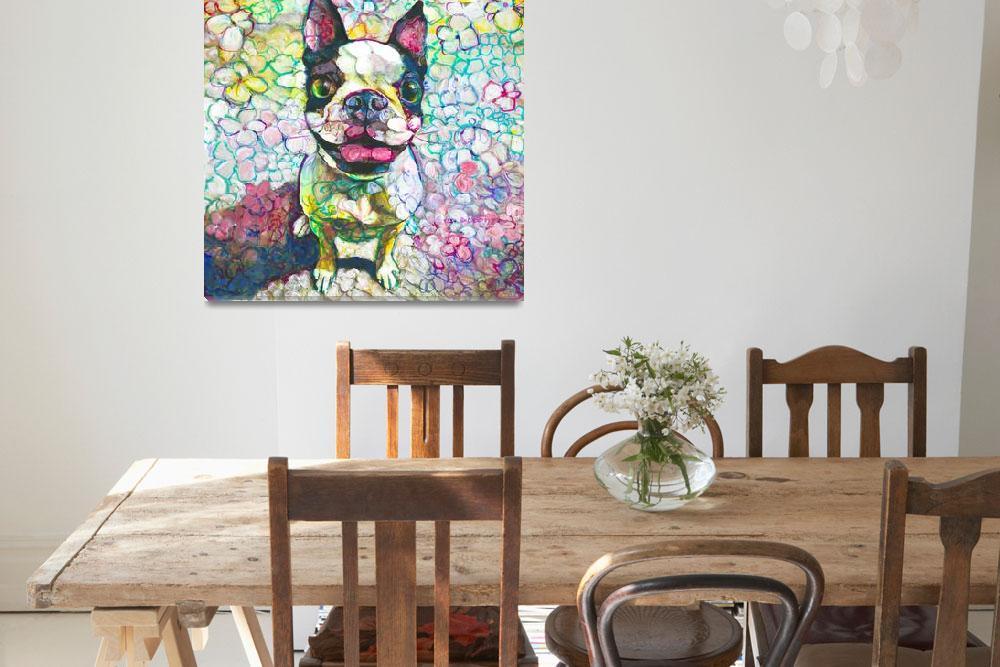 """Joy Flower Puppy Boston Terrier""  (2018) by RDRiccoboni"